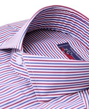 stripes shirt Franco Montanelli. Red blu and white.