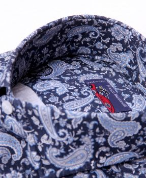 Pattern blue shirt Franco Montanelli