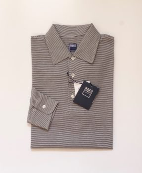 Dark stripes long sleeves polo Fedeli