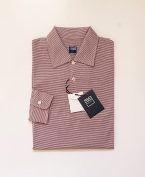 Bordeaux stripes polo Fedeli